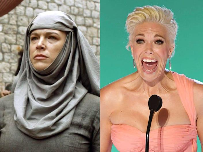 """A side by side image of Hannah Waddingham in """"Game of Thrones"""" as Septa Unella, and Waddingham at the 2021 Emmys."""
