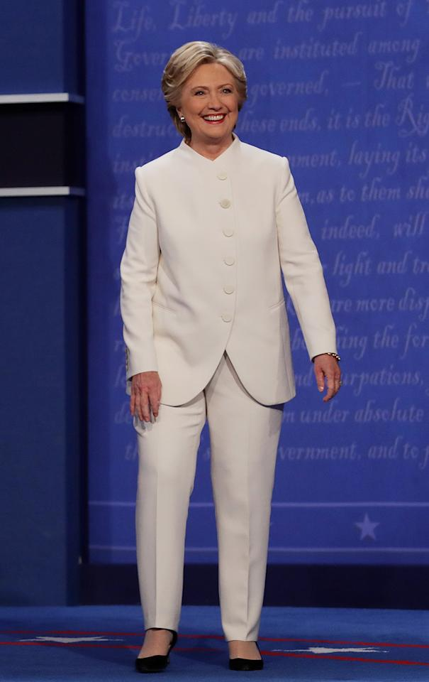 "<p>At the third and final presidential debate on Wednesday night, Hillary Clinton looked ""angelic,"" according to social media, in a white suit custom made for her by Ralph Lauren. (Photo: Chip Somodevilla/Getty Images) </p>"
