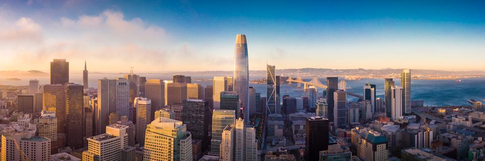 The Salesforce Tower, center, is seen in this aerial view of the San Francisco skyline with the Bank of America Center and the Transamerica Pyramid on the far left. (Engel Ching/Shutterstock)