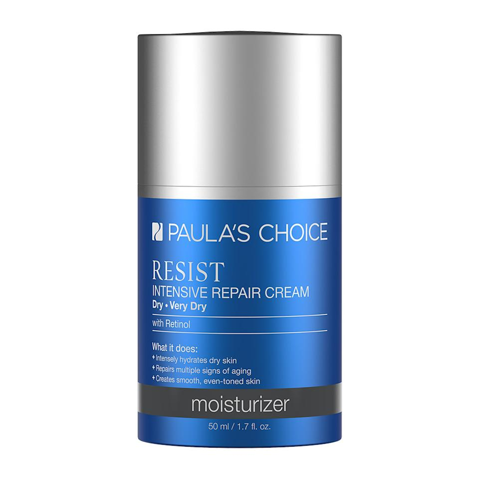 """<p>The driest of skin is no challenge for this rich multitasking night cream. Not only will it immediately restore skin's moisture levels upon application, but you'll reap serious anti-aging benefits as you sleep thanks to this cream's retinol, peptide, and antioxidant blend. Its creamy texture makes for a great eye and neck cream too. <a rel=""""nofollow"""" href=""""http://www.paulaschoice.com/shop/skin-care-categories/moisturizers/_/Resist-Intensive-Repair-Cream"""">Paula's Choice Resist Intensive Repair Cream, $33</a>. </p>"""
