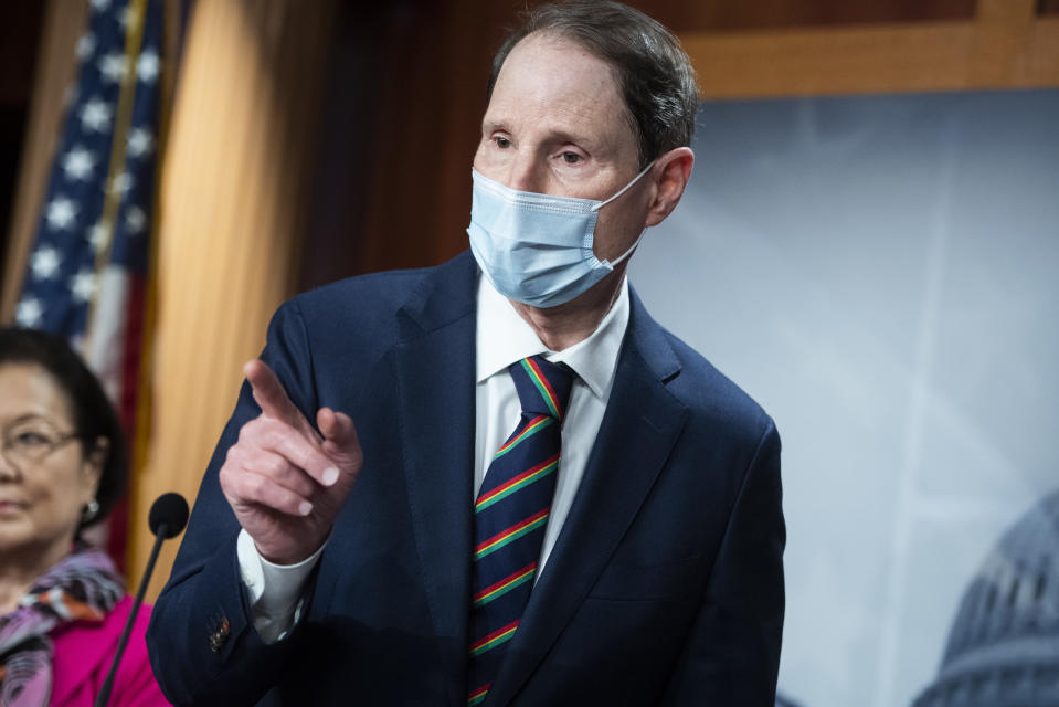 UNITED STATES - SEPTEMBER 30: Sen. Ron Wyden, D-Ore., conducts a news conference with Senate Democrats where they addressed topics including the Supreme Court nominee and health care in the Capitol on Wednesday, September 30, 2020. (Photo By Tom Williams/CQ-Roll Call, Inc via Getty Images)