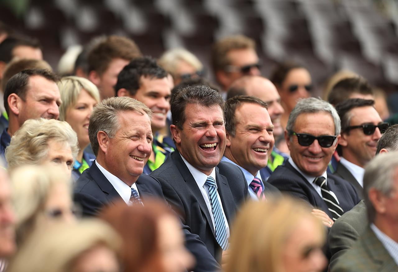 SYDNEY, AUSTRALIA - JANUARY 20:  Channel Nine cricket commentators Ian Healy, Mark Taylor, Michael Slater and Ken Sutcliffe smile during the Tony Greig memorial service at Sydney Cricket Ground on January 20, 2013 in Sydney, Australia.  (Photo by Mark Metcalfe/Getty Images)