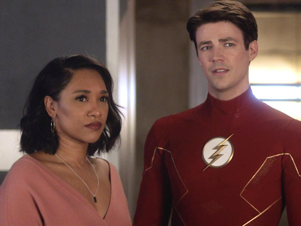 """Candice Patton as Iris West-Allen and Grant Gustin as Barry Allen on season seven, episode 11 of """"The Flash."""""""