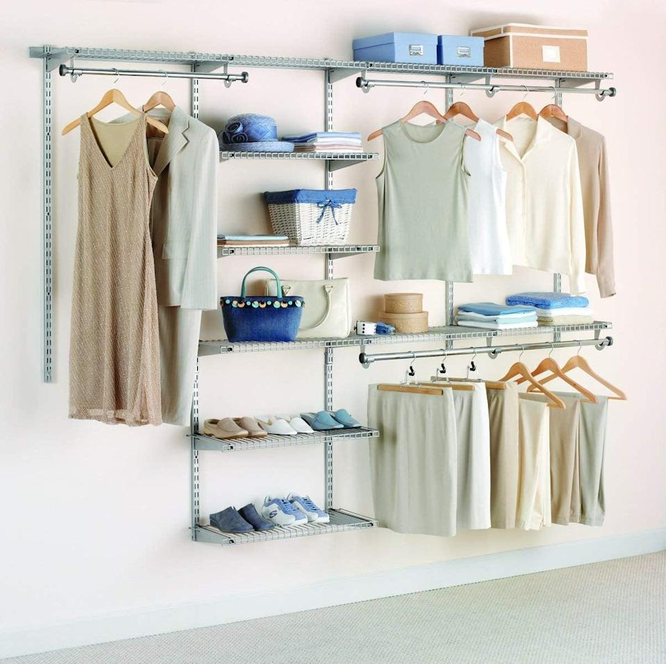 <p>Turn a barren wall or closet into an organizational oasis with this <span>Rubbermaid Configurations Deluxe Custom Closet Organizer System Kit</span> ($171, originally $270), which can extend up to eight feet wide.</p>