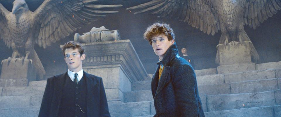 <em>Grindelwald</em> features the first pairing of the Scamander brothers, Theseus (Callum Turner) and Newt (Redmayne). (Photo: 2018 Warner Bros. Ent./Courtesy Everett Collection)
