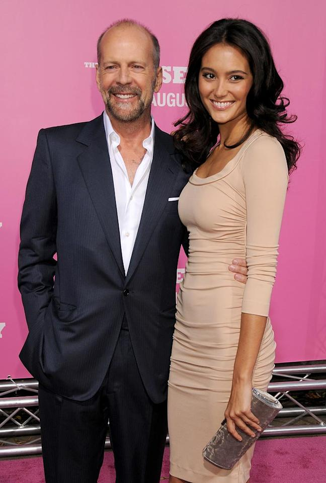 """<a href=""""http://movies.yahoo.com/movie/contributor/1800018749"""">Bruce Willis</a> and Emma Heming at the Los Angeles Premiere of <a href=""""http://movies.yahoo.com/movie/1809921361/info"""">The House Bunny</a> - 08/20/2008"""