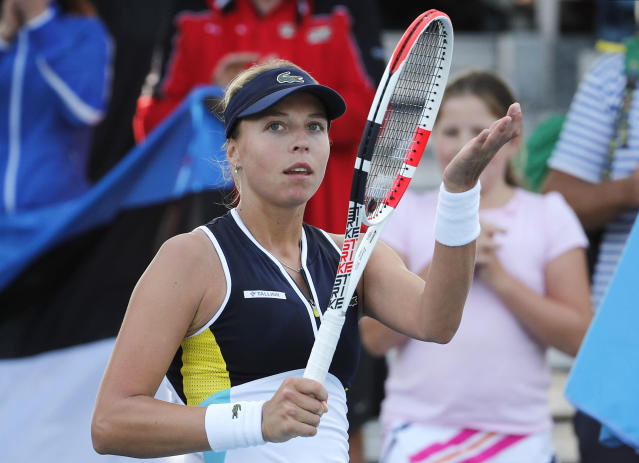 Estonia's Anett Kontaveit reacts after defeating Spain's Sara Sorribes Tormo during their second round singles match at the Australian Open tennis championship in Melbourne, Australia, Thursday, Jan. 23, 2020. (AP Photo/Andy Wong)
