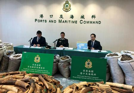 Officers attend a news conference with ivory tusks and pangolin scales, seized by Hong Kong Customs, displayed in Hong Kong, China, February 1, 2019. REUTERS/Stringer NO RESALES. NO ARCHIVE.