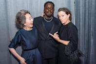 <p>Backstage at the Oscars on Sunday, three of the four acting winners — Youn Yuh-jung, Daniel Kaluuya and Frances McDormand — pose for photographers. </p>