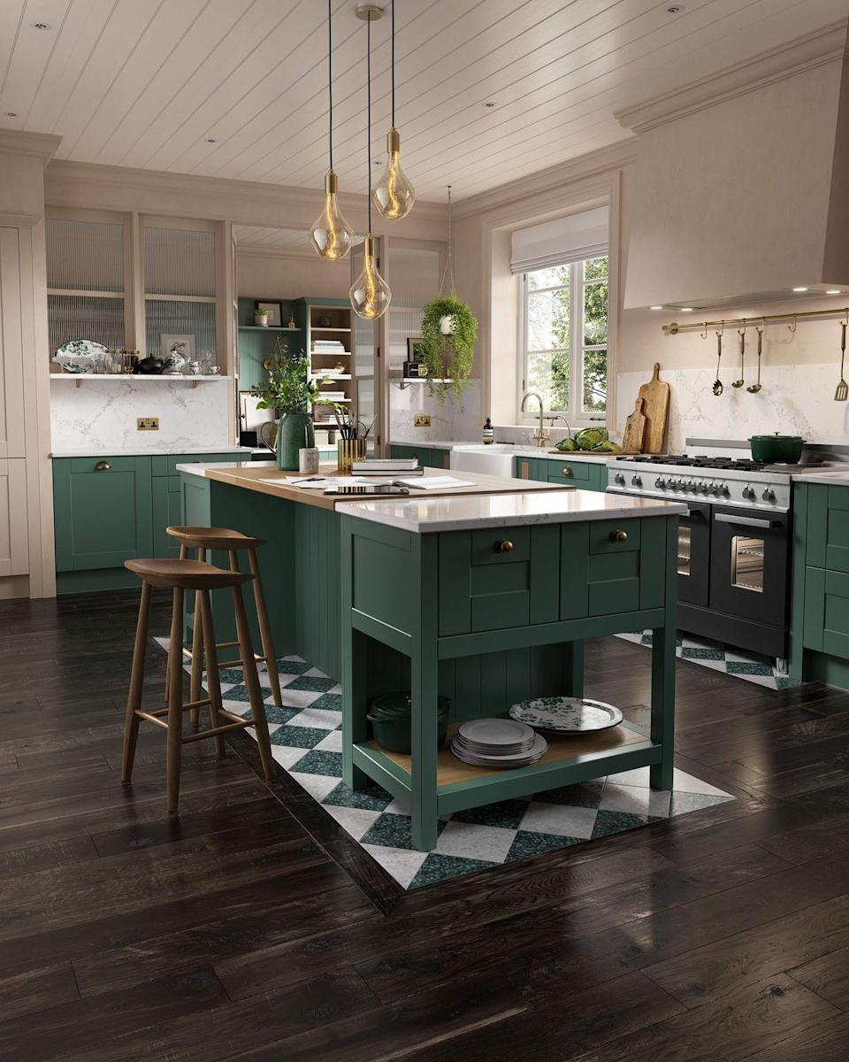 """<p><a href=""""https://www.housebeautiful.com/uk/decorate/bathroom/a2255/bathroom-decorating-ideas-greenery/"""" rel=""""nofollow noopener"""" target=""""_blank"""" data-ylk=""""slk:Green"""" class=""""link rapid-noclick-resp"""">Green</a> kitchen islands are the best way to bring the outdoors in, while also adding a natural look. A surefire way to add character, we're big fans of this smart green space. </p><p>• Shaker style kitchen in 'Roman Leaf' from <a href=""""https://www.wrenkitchens.com/kitchens/shaker-roman-leaf-matt-white/6626"""" rel=""""nofollow noopener"""" target=""""_blank"""" data-ylk=""""slk:Wren Kitchens"""" class=""""link rapid-noclick-resp"""">Wren Kitchens</a> </p>"""