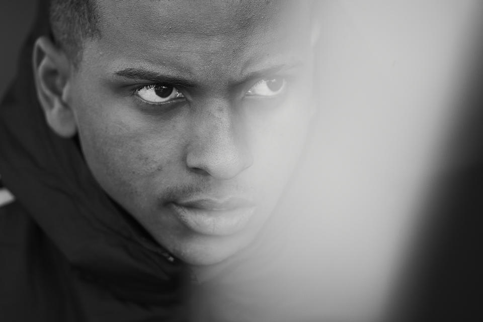 GETAFE, SPAIN - JANUARY 04: (EDITORS NOTE: This image has been converted to black and white) Rodrygo of Real Madrid CF looks on prior to  the Liga match between Getafe CF and Real Madrid CF at Coliseum Alfonso Perez on January 04, 2020 in Getafe, Spain. (Photo by Quality Sport Images/Getty Images)