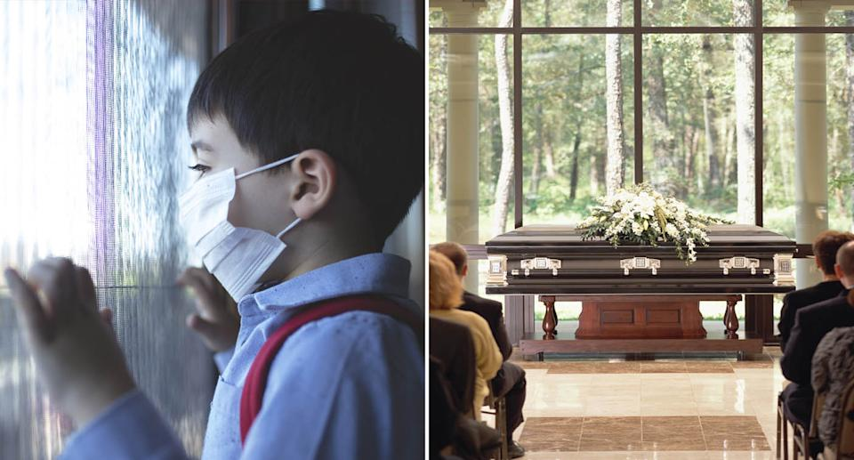 (left) Child in isolation at home, looking out a window and wearing a mask (right) Stock photo of a group of people sitting at funeral, casket with flowers in front. Source: Getty Images