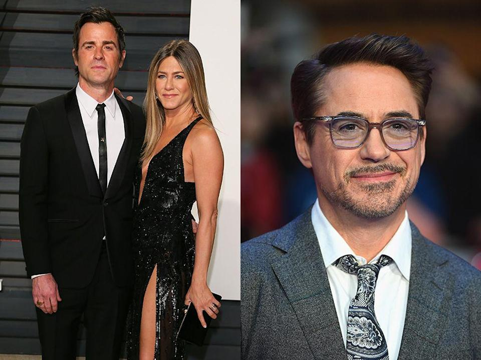 """<p>Robert Downey Junior admitted in an interview with <a href=""""https://www.sheknows.com/entertainment/articles/1043533/robert-downey-jr-hooked-jen-aniston-up-with-justin-theroux"""" rel=""""nofollow noopener"""" target=""""_blank"""" data-ylk=""""slk:Details"""" class=""""link rapid-noclick-resp"""">Details</a> that he introduced Tropic Thunder co-star Theroux to Aniston, but that it had less to do with him setting them up and more to do with genuine chemistry, adding, """"He and Jen fell in a real, legit fashion.""""</p>"""