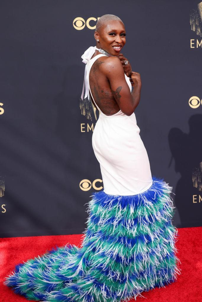 Cynthia Erivo stands out from the crowd in a feathered Louis Vuitton. (Jay L. Clendenin / Los Angeles Times)
