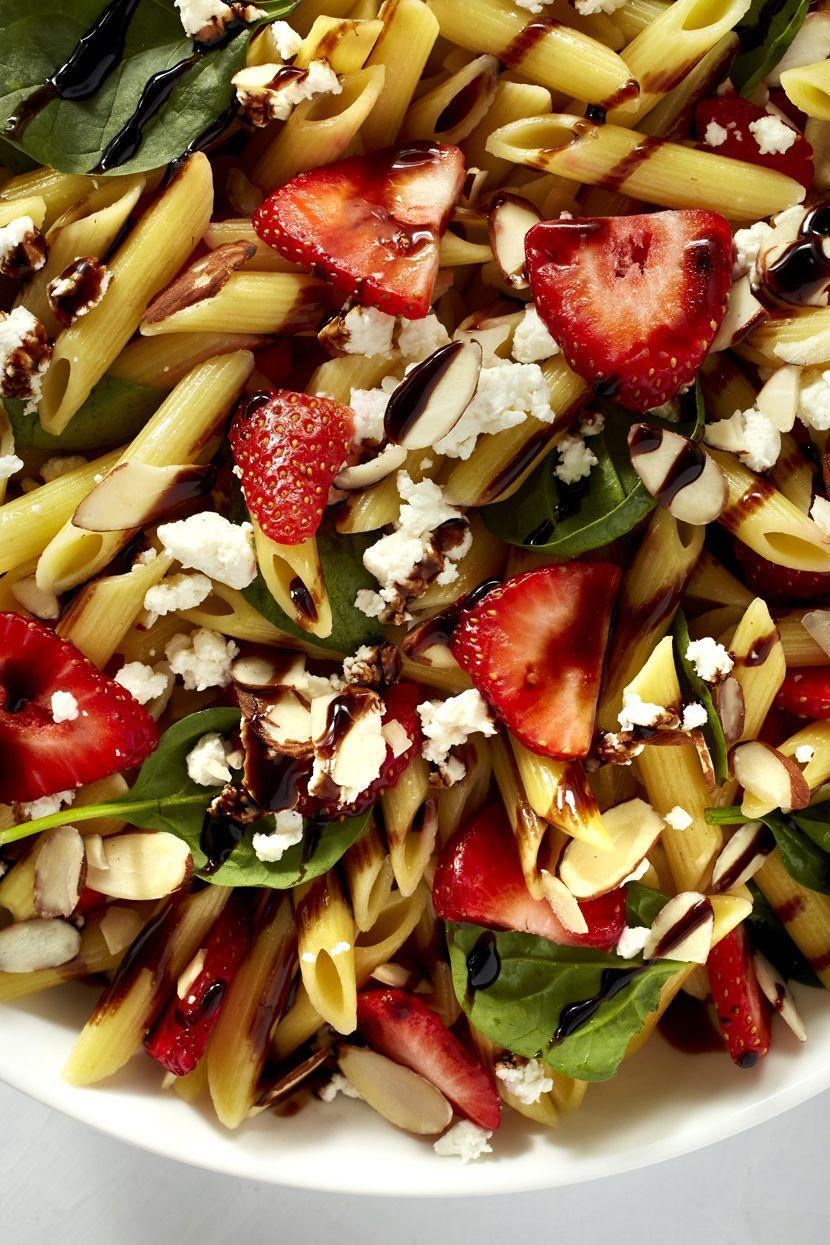 """<p>Sweet strawberries + balsamic glaze = a combination no one can resist.</p><p>Get the recipe from <a href=""""https://www.redbookmag.com/cooking/recipe-ideas/recipes/a48103/strawberry-balsamic-pasta-salad/"""" rel=""""nofollow noopener"""" target=""""_blank"""" data-ylk=""""slk:Delish"""" class=""""link rapid-noclick-resp"""">Delish</a>.</p>"""