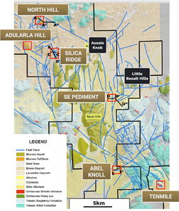 Plan geology map of the Sandman Project area with known prospects and targets labelled
