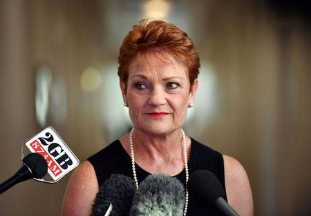 Australia's One Nation party leader Senator Pauline Hanson is pictured at a press conference at Parliament House in Canberra