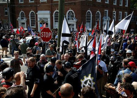 FILE PHOTO: White nationalists rally in Charlottesville, Virginia, U.S., August 12, 2017.   REUTERS/Joshua Roberts/File Photo