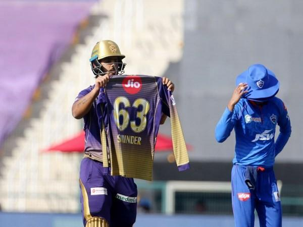 KKR batsman Nitish Rana paying tribute to his late father-in-law after scoring fifty (Photo: BCCI/ IPL)