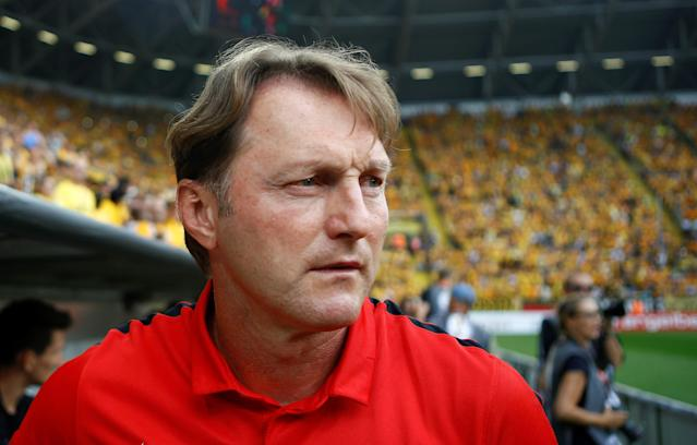Football Soccer - Dynamo Dresden v RB Leipzig - German Cup (DFB Pokal) - DDV-Stadion, Dresden, Germany - 20/08/16. RB Leipzig's coach Ralph Hasenhuettl awaits the match. REUTERS/Axel Schmidt. DFB RULES PROHIBIT USE IN MMS SERVICES VIA HANDHELD DEVICES UNTIL TWO HOURS AFTER A MATCH AND ANY USAGE ON INTERNET OR ONLINE MEDIA SIMULATING VIDEO FOOTAGE DURING THE MATCH.