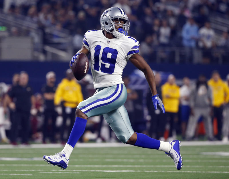 FILE - In this Thursday, Nov. 22, 2018, file photo, Dallas Cowboys wide receiver Amari Cooper (19) looks back as he runs in for a touchdown during the second half of an NFL football game against the Washington Redskins in Arlington, Texas. Cooper has caught 16 of 17 targets in the past two weeks and will have a great opportunity to continue his pace against an Eagles pass defense that is 30th in fantasy points allowed to opposing receivers. (AP Photo/Ron Jenkins, File)