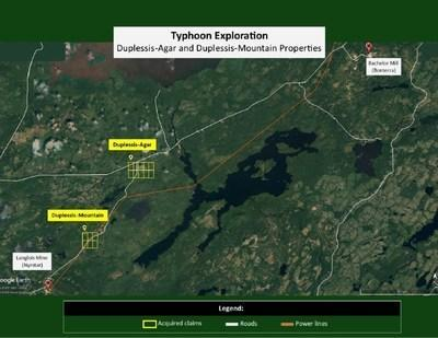 Location of the Agar and Mountain properties (CNW Group/Typhoon Exploration Inc.)
