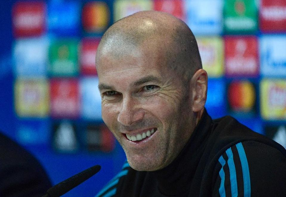Real Madrid's French coach Zinedine Zidane speaks at a press conference at Valdebebas Sport City in Madrid, on October 16, 2017 (AFP Photo/PIERRE-PHILIPPE MARCOU)