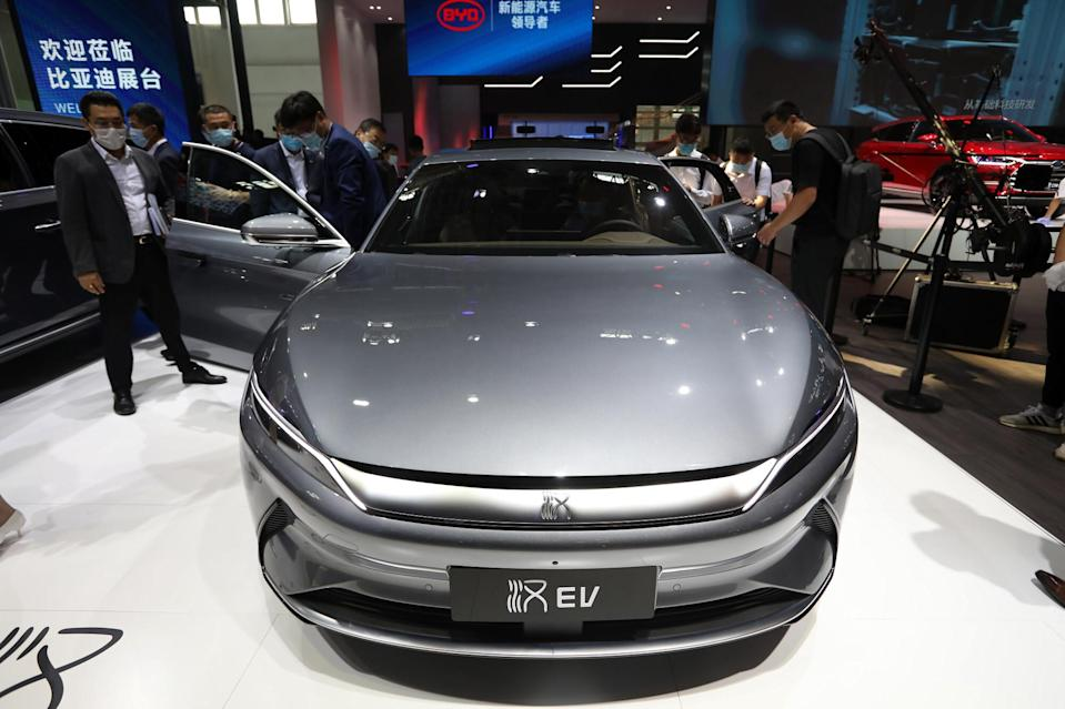 BYD's Han electric car at the 2020 Beijing International Automotive Exhibition in the Chinese capital on September 26, 2020. Photo: Simon Song