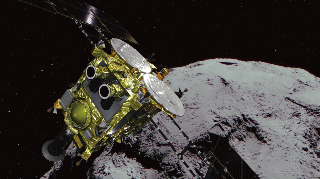 <em>Over the next year and a half, the spacecraft will attempt three brief touch-and-go landings to collect samples (PA)</em>