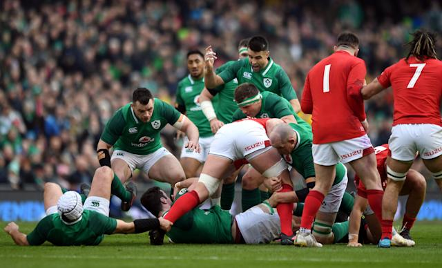 Rugby Union - Six Nations Championship - Ireland vs Wales - Aviva Stadium, Dublin, Republic of Ireland - February 24, 2018 Ireland's Conor Murray gestures as his team mates build a ruck REUTERS/Clodagh Kilcoyne