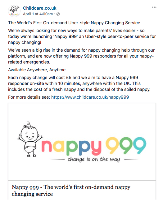Childcare.co.uk initially launched the service as an April Fool's joke. Photo: Facebook/Childcare.co.uk