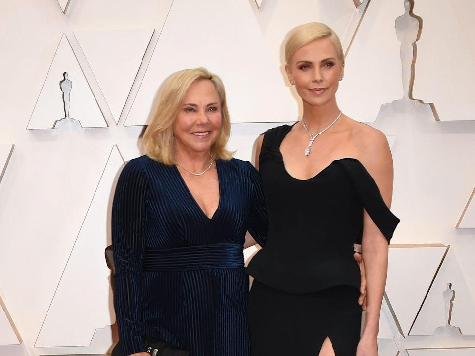 Charlize Theron and her mother Gerda Jacoba Aletta Maritz at the Dolby Theatre.