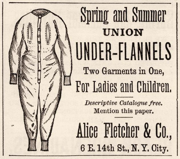 Advertisement for Union Under-Flannels underwear (also known as a union suit). The ad originally appeared in Harper's Bazaar magazine in 1879. (Photo: Stock Montage via Getty Images)