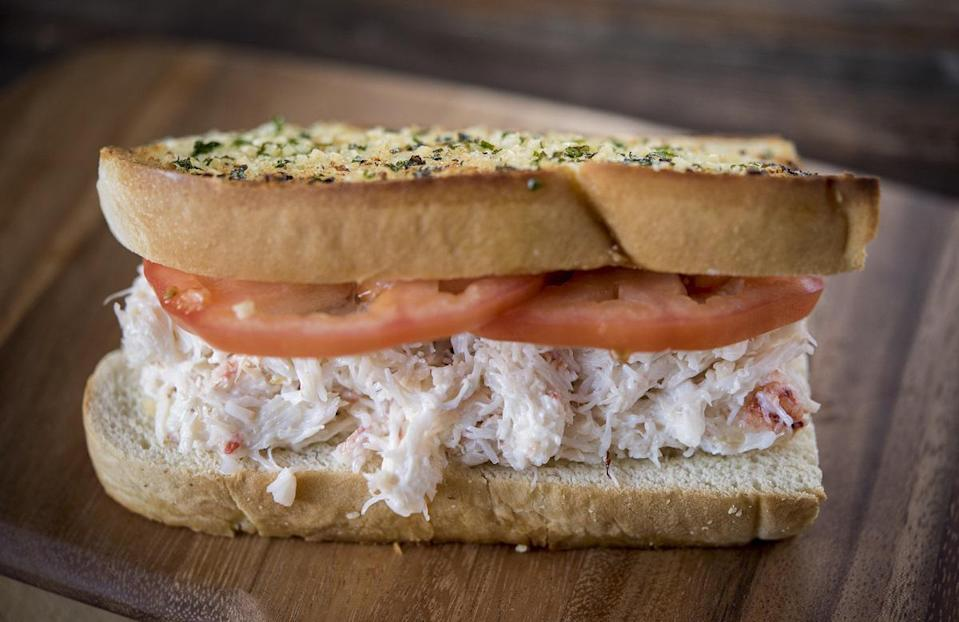 """<p>Crab sandwiches may not seem like <a href=""""https://www.thedailymeal.com/cook/ballpark-recipes-make-home-slideshow?referrer=yahoo&category=beauty_food&include_utm=1&utm_medium=referral&utm_source=yahoo&utm_campaign=feed"""" rel=""""nofollow noopener"""" target=""""_blank"""" data-ylk=""""slk:stadium food"""" class=""""link rapid-noclick-resp"""">stadium food</a>, but this one was created by Chef Taylor Park for T-Mobile Park, home of the Seattle Mariners. Next time you're tuning into a game, make this dungeness crab sandwich instead of your everyday nachos and sausages.</p> <p><a href=""""https://www.thedailymeal.com/recipes/dungeness-crab-sandwich-recipe?referrer=yahoo&category=beauty_food&include_utm=1&utm_medium=referral&utm_source=yahoo&utm_campaign=feed"""" rel=""""nofollow noopener"""" target=""""_blank"""" data-ylk=""""slk:For the Dungeness Crab Sandwich recipe, click here."""" class=""""link rapid-noclick-resp"""">For the Dungeness Crab Sandwich recipe, click here.</a></p>"""