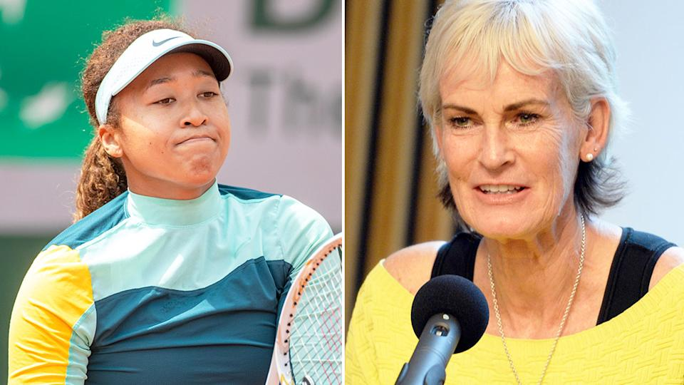 Pictured right, iconic tennis mum Judy Murray and Naomi Osaka in training on the left.