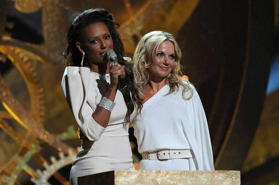 on stage at The Brit Awards 2010 at Earls Court on February 16, 2010 in London, England.