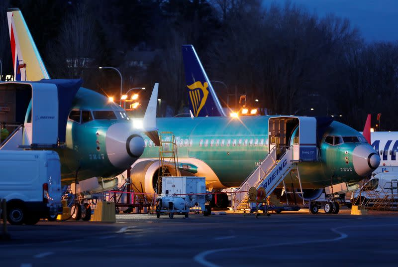 Unpainted Boeing 737 Max aircraft sit on the tarmac at the Renton Municipal Airport in Renton