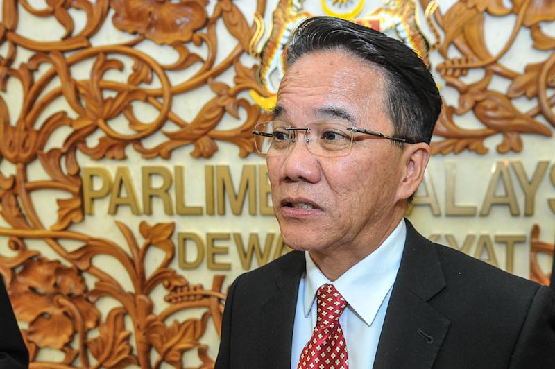 Minister in the Prime Minister's Department Datuk Liew Vui Keong condemned the rejection of the Anti-Fake News Bill 2018 repeal by the Dewan Negara as going against the spirit of the rakyat. — Picture by Shafwan Zaidon