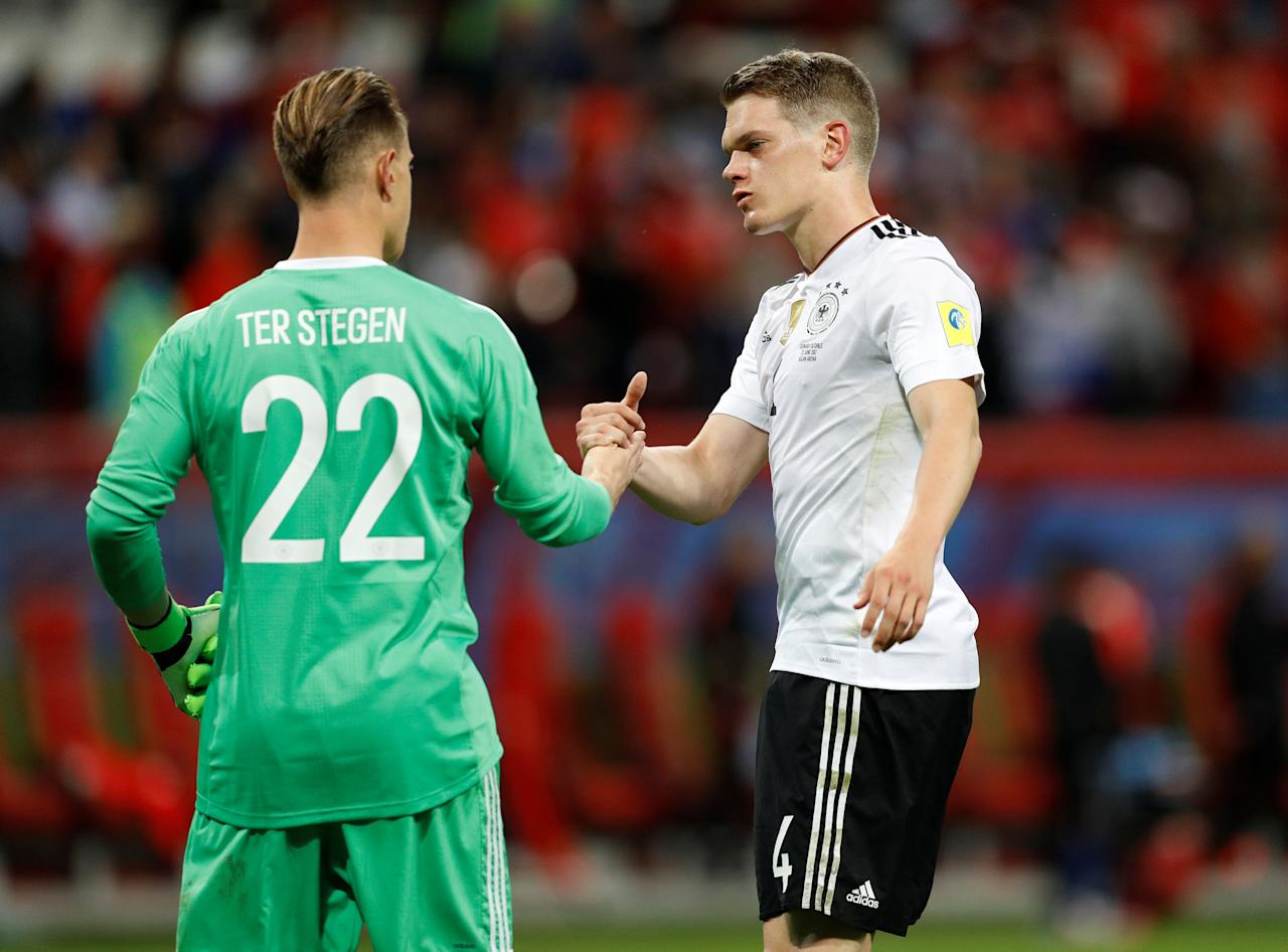 Soccer Football - Germany v Chile - FIFA Confederations Cup Russia 2017 - Group B - Kazan Arena, Kazan, Russia - June 22, 2017   Germany's Marc-Andre ter Stegen shakes hands with Matthias Ginter after the match    REUTERS/Darren Staples
