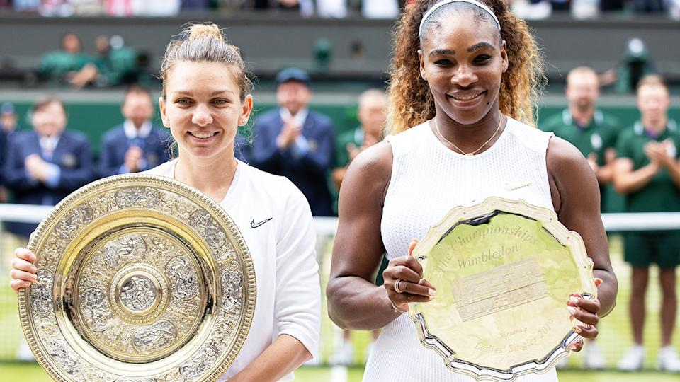 Simona Halep and Serena Williams, pictured here after the Wimbledon final in 2019.