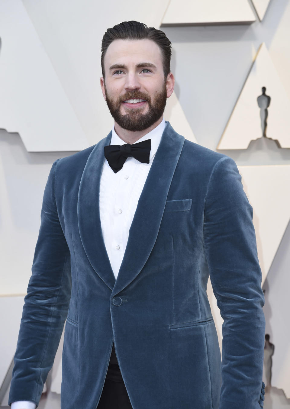 Chris Evans arrives at the Oscars on Sunday, Feb. 24, 2019, at the Dolby Theatre in Los Angeles. (Photo by Richard Shotwell/Invision/AP)