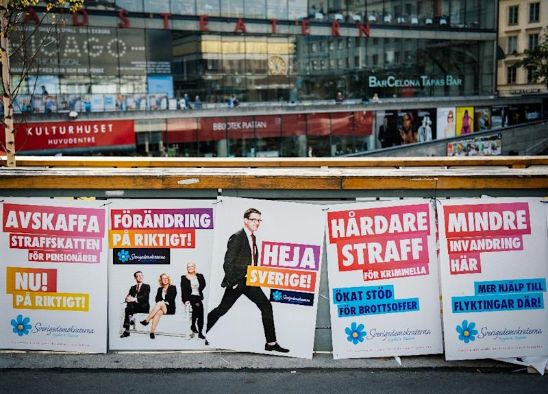Picture taken on September 12, 2014 shows election posters of Jimmie Aakesson, leader of Sweden Democrats Party in Sweden in Stockholm (AFP Photo/Jonathan Nackstrand)