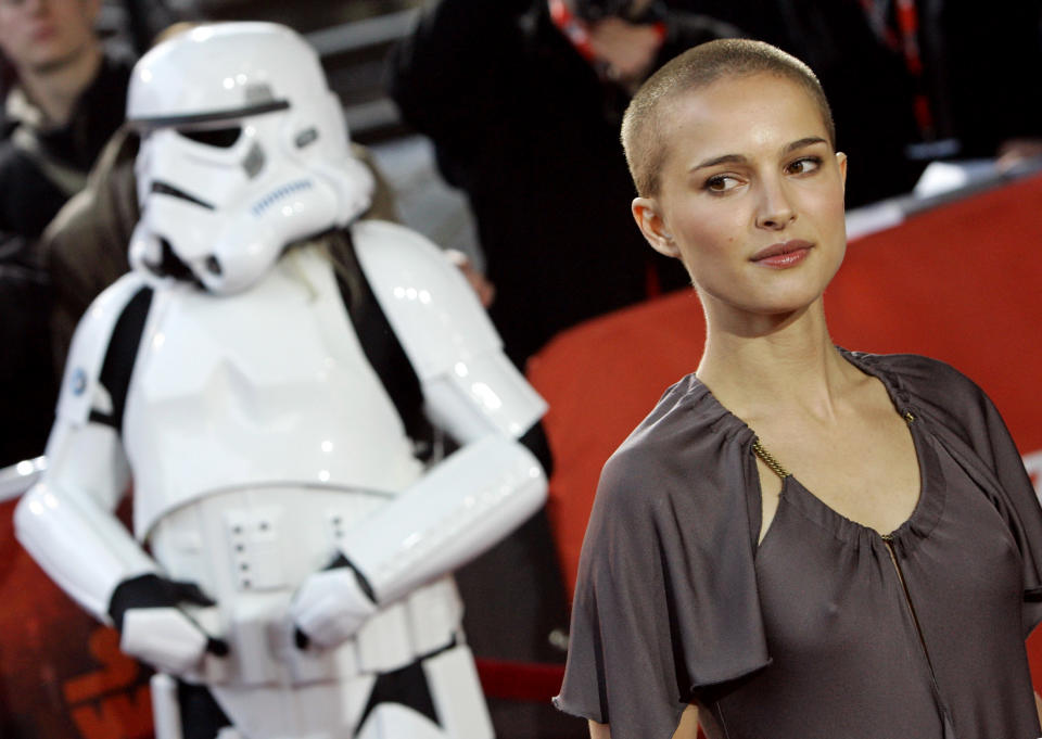 """Cast member Portman poses during red carpet arrivals for the German premier of the film """"Star Wars - Episode III - Revenge of the Sith"""" in Berlin.  Cast member Natalie Portman poses during red carpet arrivals for the German premier of the film """"Star Wars - Episode III - Revenge of the Sith"""" in Berlin May 17, 2005. The movie, directed by U.S. film director George Lucas, opens in German cinemas on Thursday. REUTERS/Fabrizio Bensch"""