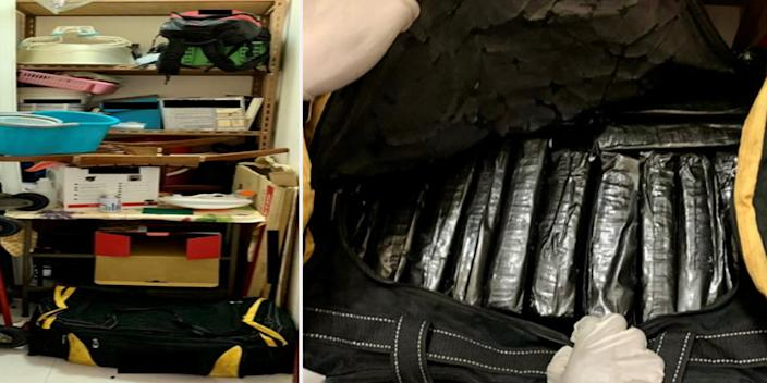 Some of the drugs seized were found in two bags inside the storeroom (left) of a residential unit around Choa Chu Kang Ave 4. One of the bags (right) held 20 bundles containing about 19,772g of cannabis. (PHOTOS: Central Narcotics Bureau)