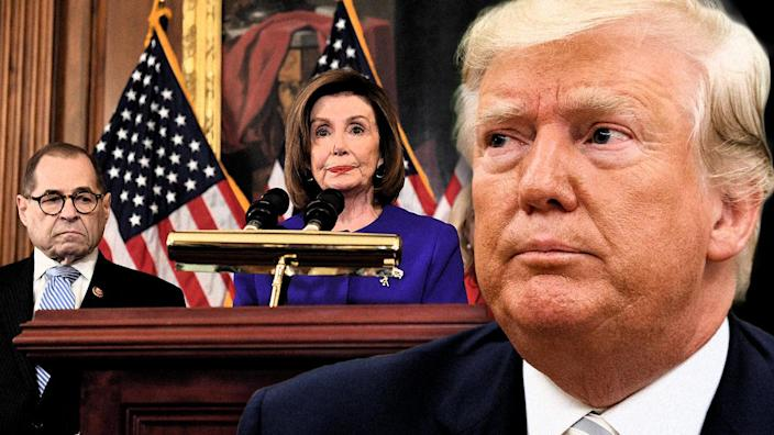 House Judiciary Chairman Jerry Nadler and House Speaker Nancy Pelosi announce articles of impeachment against President Trump at the U.S. Capitol on Tuesday. (Photo illustration: Yahoo News; photos: Saul Loeb/AFP via Getty Images, AP)