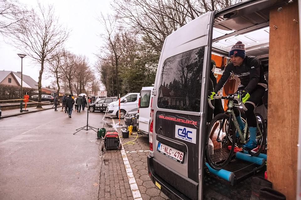 Andrew Juiliano - Living that pro cycling dream, one rental van roller session at a time. Maldegem, Belgium