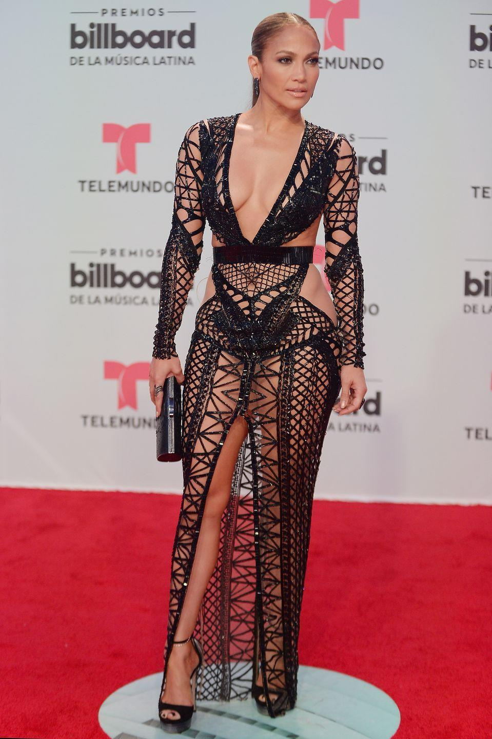 <p>Another year, another naked dress for Lopez - this time in Julien MacDonald.</p>