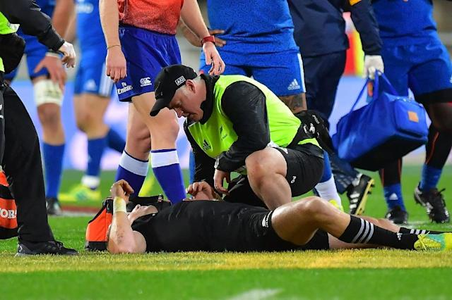 Barrett is unlikely to play in the third Test having failed a concussion test after being upended by Fall 12 minutes into Saturday's match (AFP Photo/Marty MELVILLE)