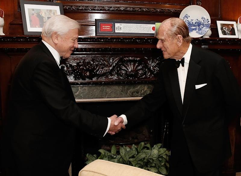 LONDON, ENGLAND - DECEMBER 02: HRH Prince Philip, Duke of Edinburgh (R) meets with Sir David Attenborough, at a special screening event of his new series on the Great Barrier Reef (produced by Atlantic Productions), hosted by the Australian High Commission and Tourism Australia at Australia House on December 2, 2015 in London, England. (Photo by John Phillips/Getty Images for Tourism Australia)