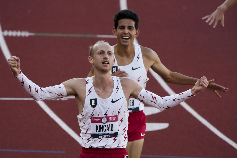 Woody Kincaid celebrates after winning the men's 10000-meter run at the U.S. Olympic Track and Field Trials Friday, June 18, 2021, in Eugene, Ore. (AP Photo/Chris Carlson)